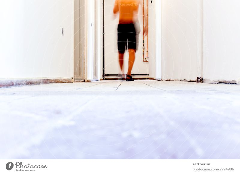 hallway Old building Period apartment Construction site Wooden board Hallway Wooden floor Floor covering Craft (trade) Man Wall (barrier) Human being Room