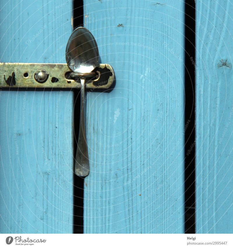 Detail of a wooden door made of blue painted boards, which is closed with a spoon Door Closure Spoon Wood Metal To hold on Exceptional Simple Uniqueness Blue