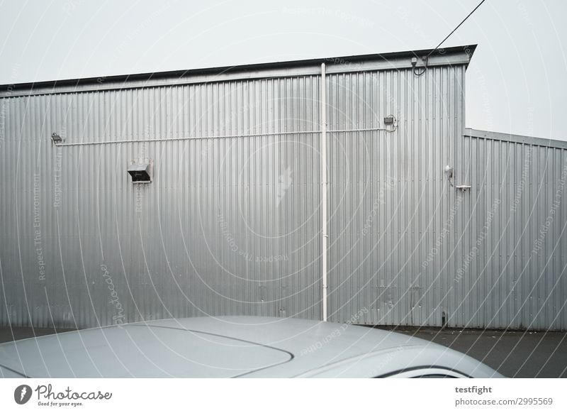 Old Town House (Residential Structure) Dark Street Architecture Wall (building) Building Wall (barrier) Facade Gray Rain Car Metal Glittering Roof