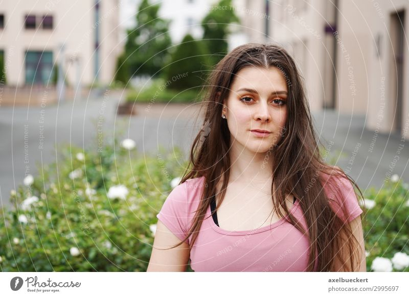 young woman in front of an urban background with free text space Lifestyle Leisure and hobbies Summer Human being Feminine Young woman Youth (Young adults)