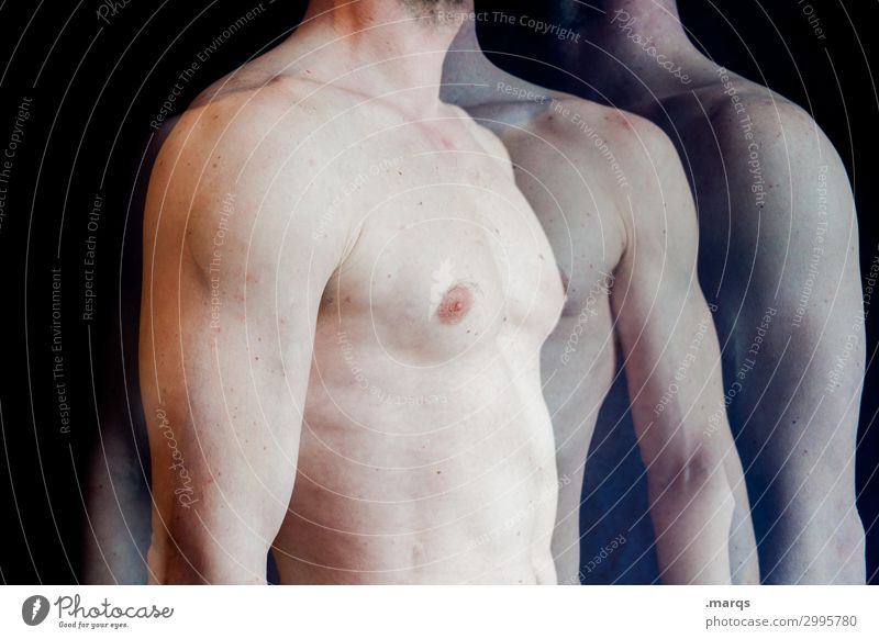 upper body Human being Masculine Man Adults Body Chest Arm 1 Stand Fitness Healthy Health care Double exposure Sportsperson Colour photo Interior shot