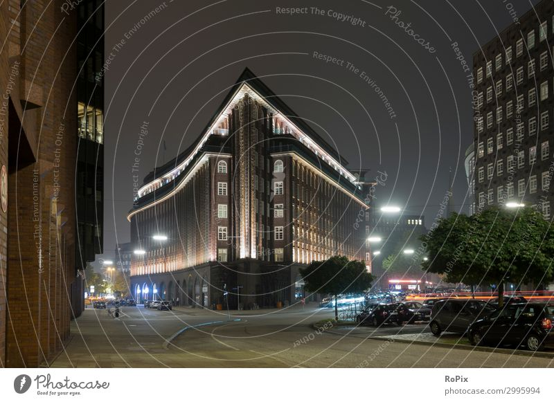 Chilehaus in Hamburg at night. Style Design Tourism Sightseeing City trip Night life Economy Trade Services Advertising Industry Construction site Art