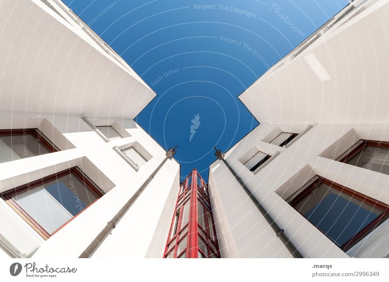 elevator Style Design Cloudless sky Manmade structures Building Architecture Window Hip & trendy Tall Modern New Blue Red White Perspective Ambitious