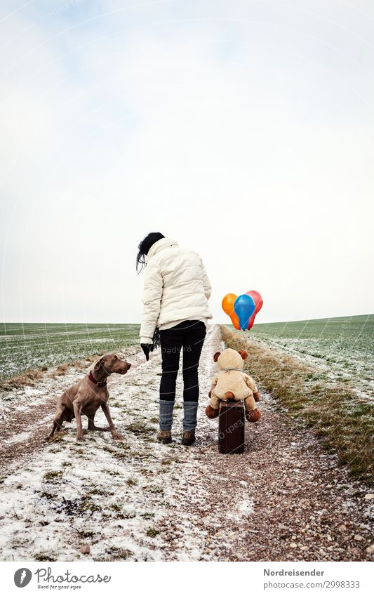 troubleshooting Trip Winter Snow Hiking Human being Feminine Woman Adults Landscape Field Lanes & trails Clothing Jacket Boots Pet Dog Toys Teddy bear Balloon