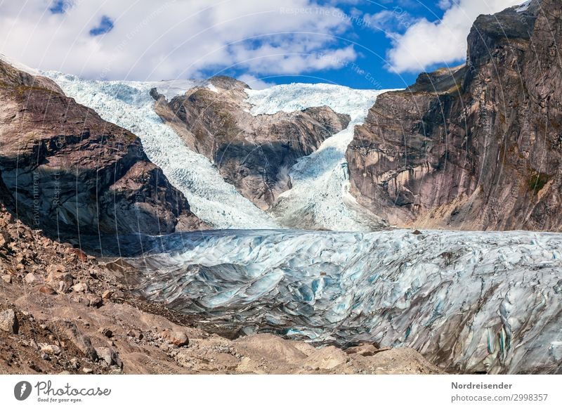 Glacier tongue of the Austerdal Glacier Vacation & Travel Tourism Far-off places Nature Landscape Elements Earth Sky Clouds Beautiful weather Ice Frost Rock