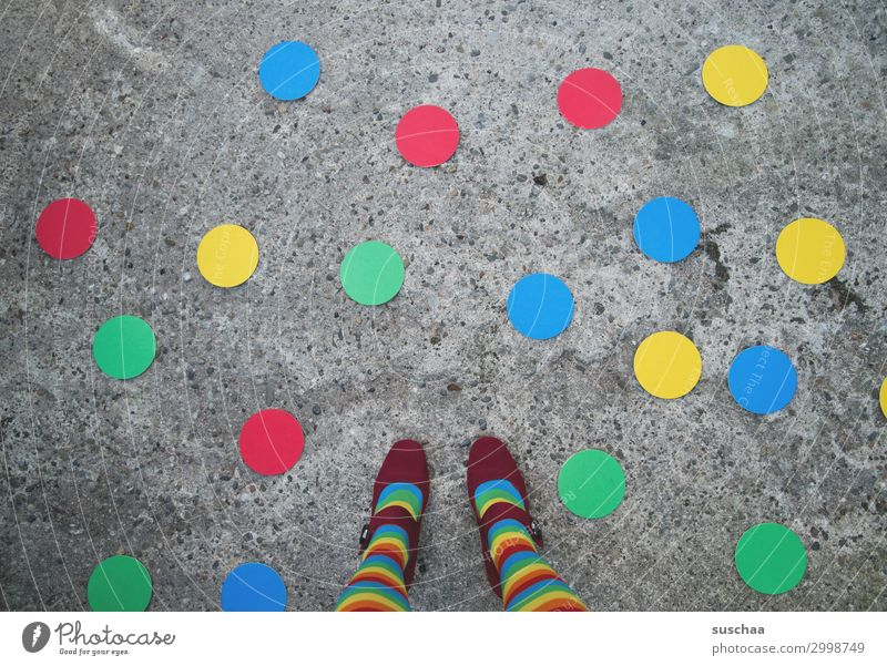 Blue Green Red Street Legs Yellow Exceptional Feet Round Symbols and metaphors Point Asphalt Whimsical Strange Striped Spotted