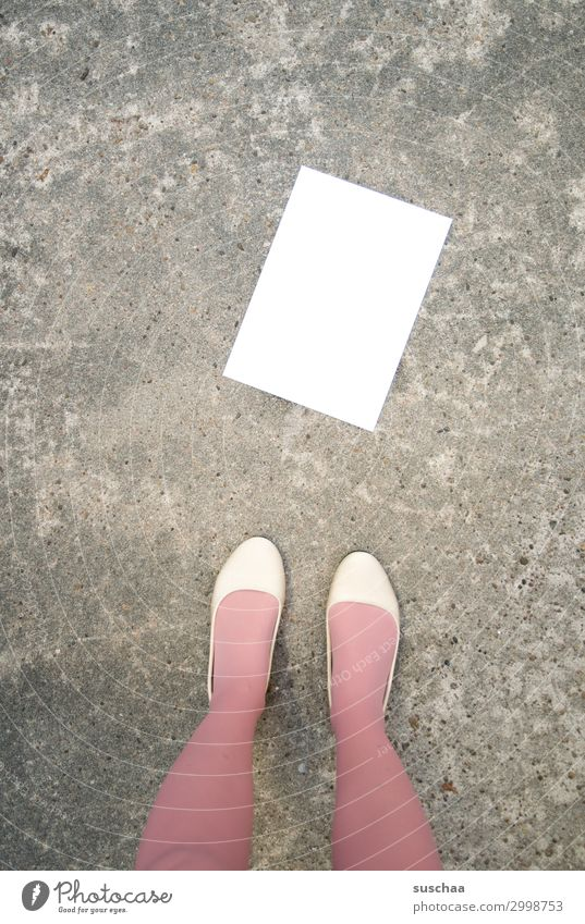 communication Communication Letter (Mail) Notepaper Empty blank page Paper White Copy Space Street Woman Legs feminine without text Information