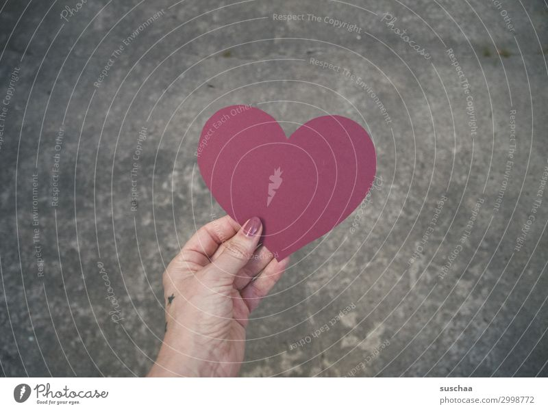 Heartfelt Sincere Red Love Friendship Compassion Gift Valentine's Day Connectedness Hand Woman feminine Street Asphalt Communication embassy world peace Hippie