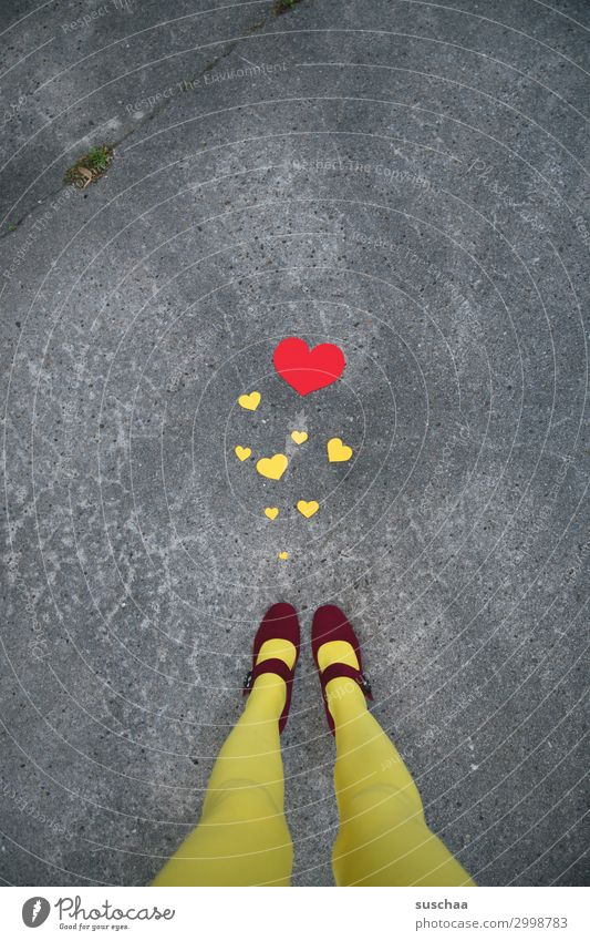 Woman Red Street Legs Yellow Love Feet Friendship Heart Many Asphalt Concepts &  Topics Whimsical Communication Connectedness Compassion