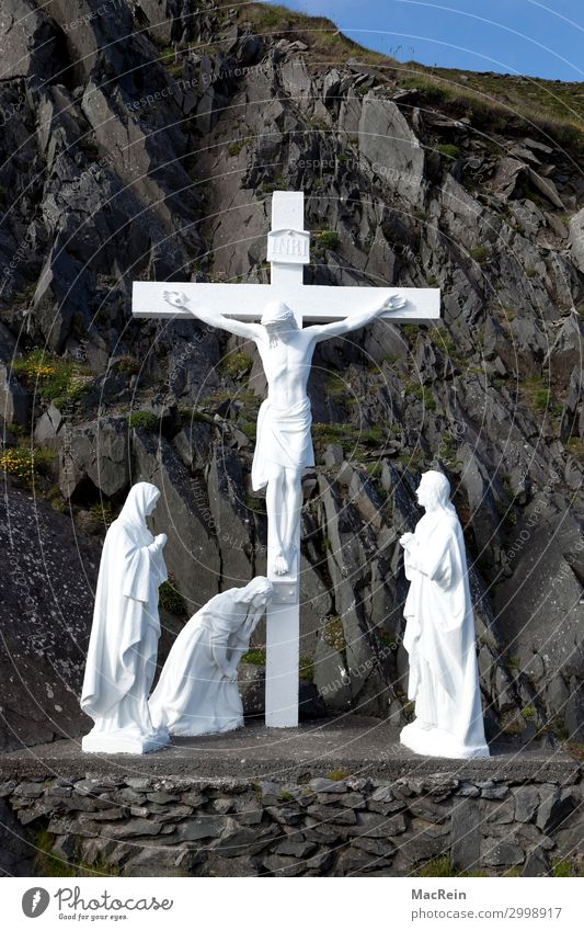 Cross on the road from Dingl, Northern Ireland Rock Coast Black White Power To console Humble Pain Jesus Christ Crucifix Christian cross Belief Christianity