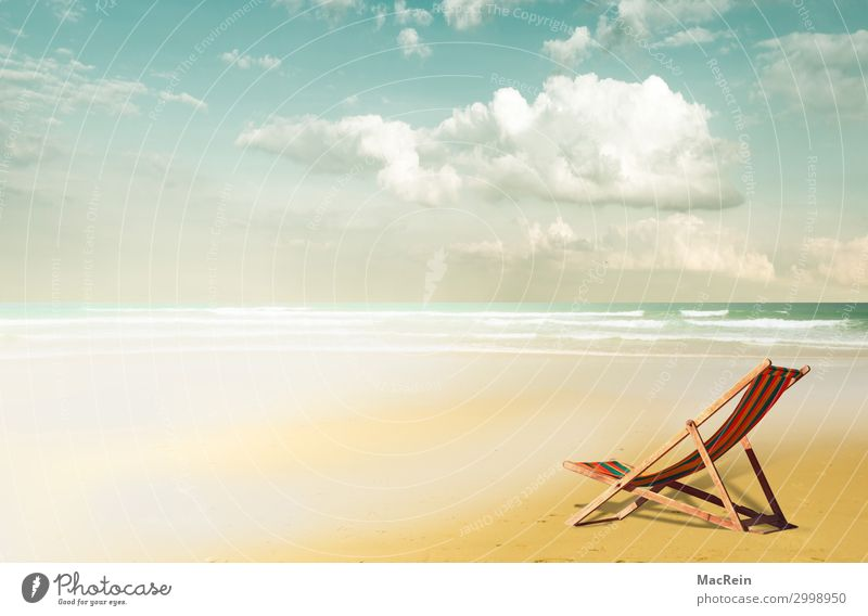 Deckchair on the beach Lifestyle Vacation & Travel Tourism Freedom Camping Summer Summer vacation Sun Beach Ocean Island Landscape Sand Water Sky Clouds Sunrise