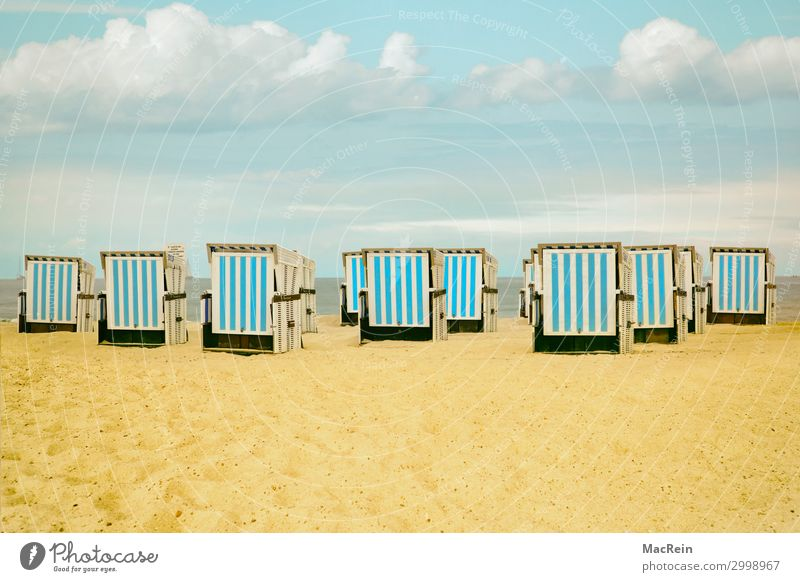 beach chairs Relaxation Calm Vacation & Travel Far-off places Summer Beach Ocean Island Landscape Sand Sky Horizon Sunlight Weather Warmth Grass Coast North Sea