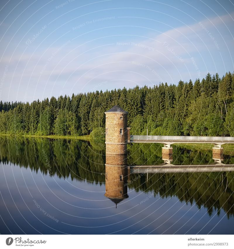 double tower - Cranzahl dam Environment Nature Landscape Water Sky Summer Beautiful weather Pond Lake River dam Tower Drinking water Forest Bridge