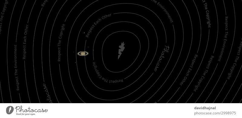 Saturn Technology Science & Research Advancement Future High-tech Astronomy Telescope Environment Nature Sky Night sky Stars Planet Ring Moon Titanium rhea