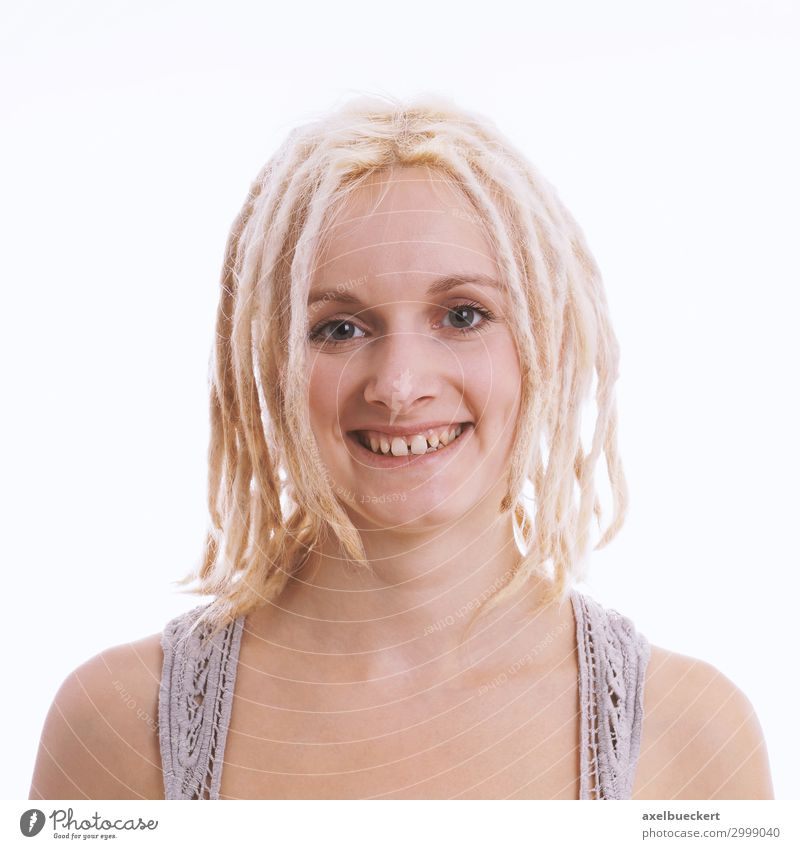 happy young woman with blond dreadlocks and tooth gap Lifestyle Style Joy Human being Feminine Young woman Youth (Young adults) Woman Adults 1 18 - 30 years