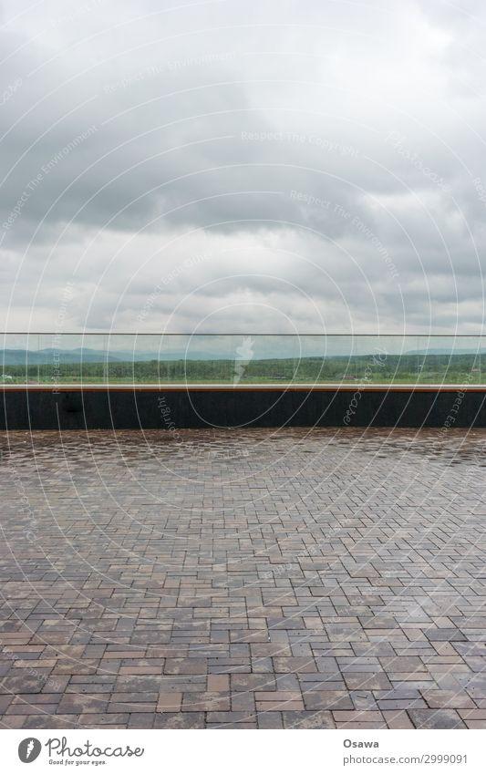 parapet panorama Places Handrail Glass glass parapet Paving stone Landscape Vantage point Panorama (View) Clouds Covered Wet Rain Rainwater Reflection Stone