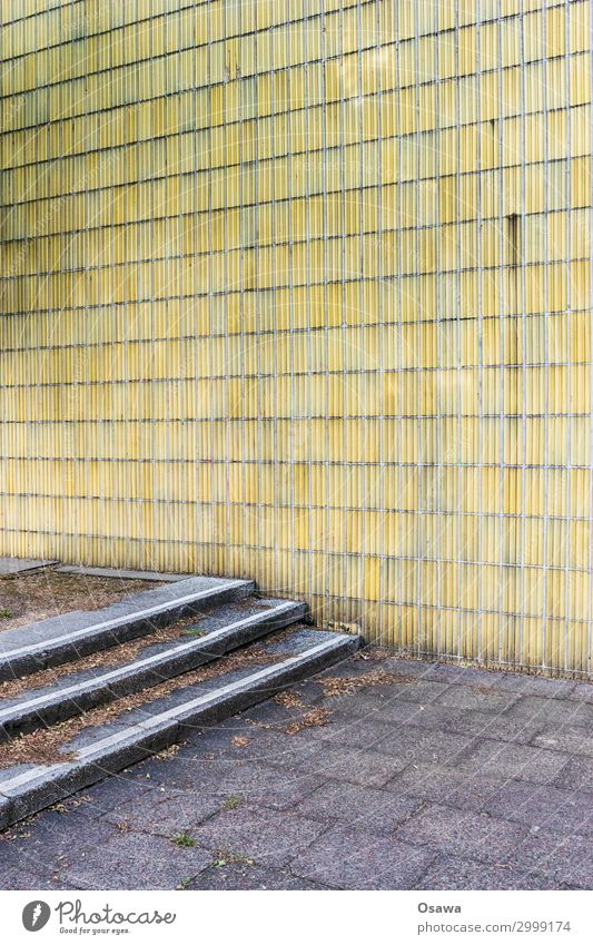 House (Residential Structure) Architecture Yellow Wall (building) Building Wall (barrier) Gray Stairs Manmade structures