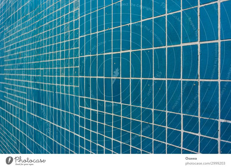 blue tiled Blue tiles Perspective Seam Stone stoneware Mosaic Building detail Pattern Grid texture background Vanishing point Copy Space Colour photo Deserted