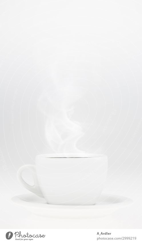 white coffee cup with steam To have a coffee Beverage Hot drink Coffee Latte macchiato Espresso Tea Crockery Cup Lifestyle Elegant Style Design Well-being