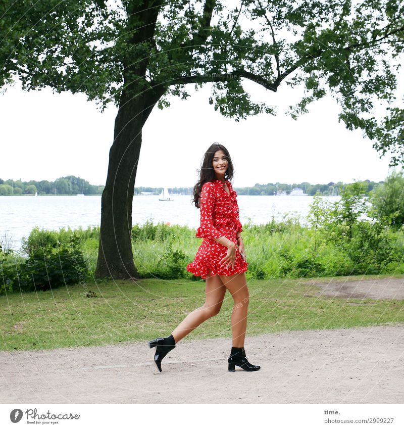jessica Feminine Woman Adults 1 Human being Water Tree Park Lakeside Alster Dress Boots Brunette Long-haired Rotate Going Smiling Laughter Looking