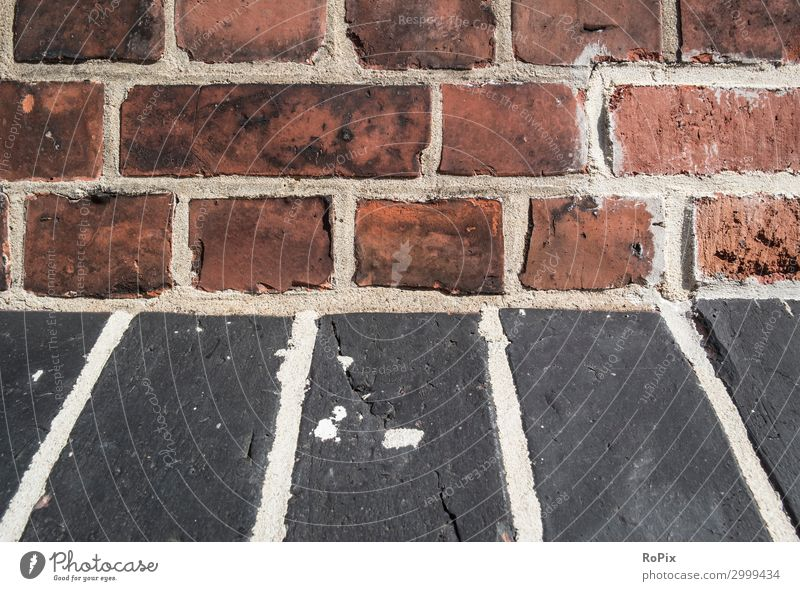 Detail of a historic brick facade. Wall (building) rampart Brick Architecture House (Residential Structure) house wall Town urban Art fingerprints masonry stone