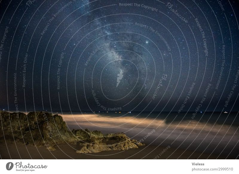 Infinite vastness, Milky Way on the coast Long exposure Light Night Deserted Astronomy Portugal Algarve Experimental Astrophotography Universe Gigantic