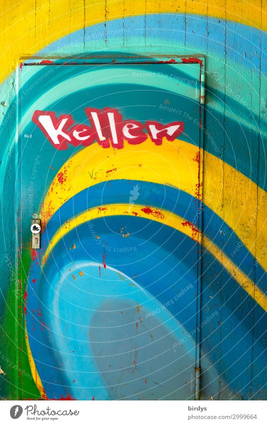 cellar door Wall (barrier) Wall (building) Door Cellar door Concrete Metal Characters Graffiti Authentic Friendliness Positive Town Blue Multicoloured Yellow