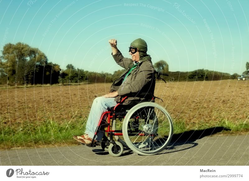 wheelchair user Human being Masculine Male senior Man 60 years and older Senior citizen Pedestrian Clothing Pants Jacket Cap Driving Old Brash Happiness