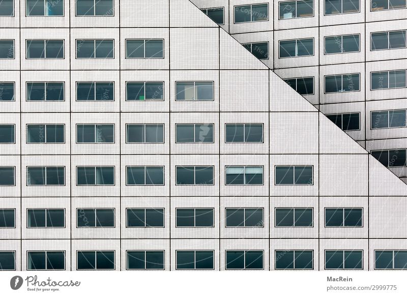window facade Capital city Port City High-rise Bank building Building Architecture Window White Esthetic Complex Facade Glazed facade Office building Tile