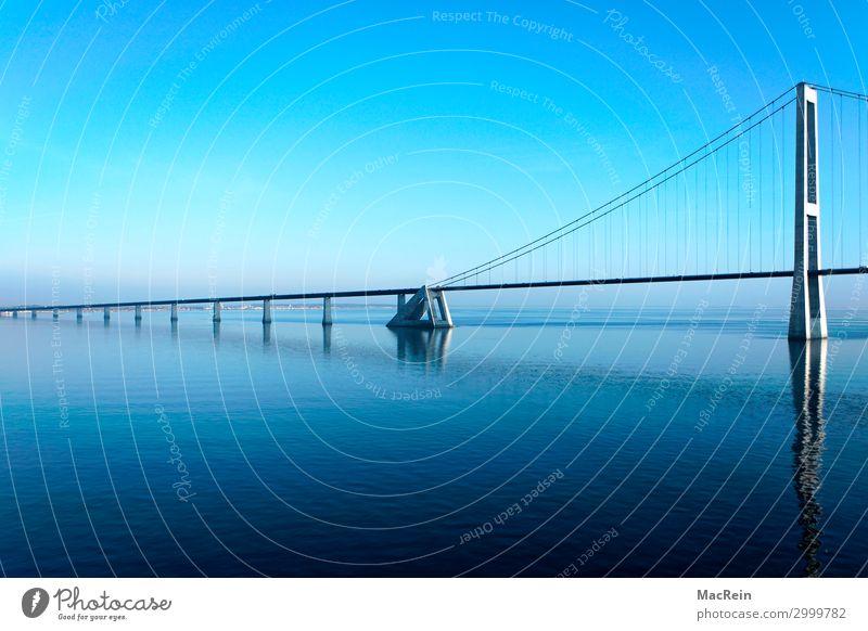 Big Belt Bridge Manmade structures Architecture Highway Change Strait Denmark Funen Zealand Bridge construction Bridge building Bridge pier Ocean Blue Sky