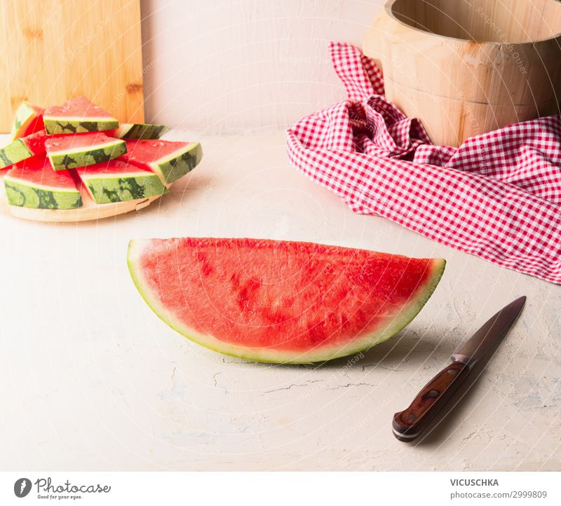 piece watermelon with knife Food Fruit Dessert Nutrition Style Healthy Eating Summer Table Design Water melon Knives Part Kitchen Food photograph Colour photo