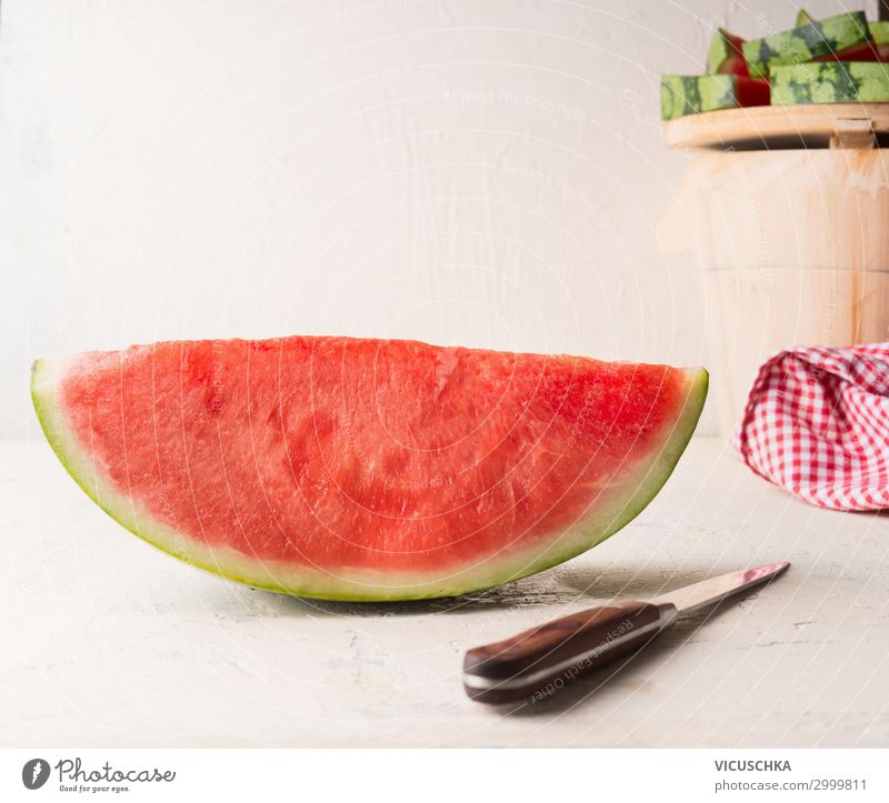 A piece of watermelon with knife Food Fruit Dessert Nutrition Organic produce Knives Style Healthy Eating Summer Design Snack Background picture Water melon