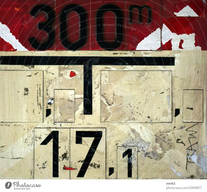 Urban life Plastic Sign Digits and numbers Signs and labeling Old Dirty Trashy Town Wild Yellow Red Black Abrasion Colour photo Subdued colour Exterior shot