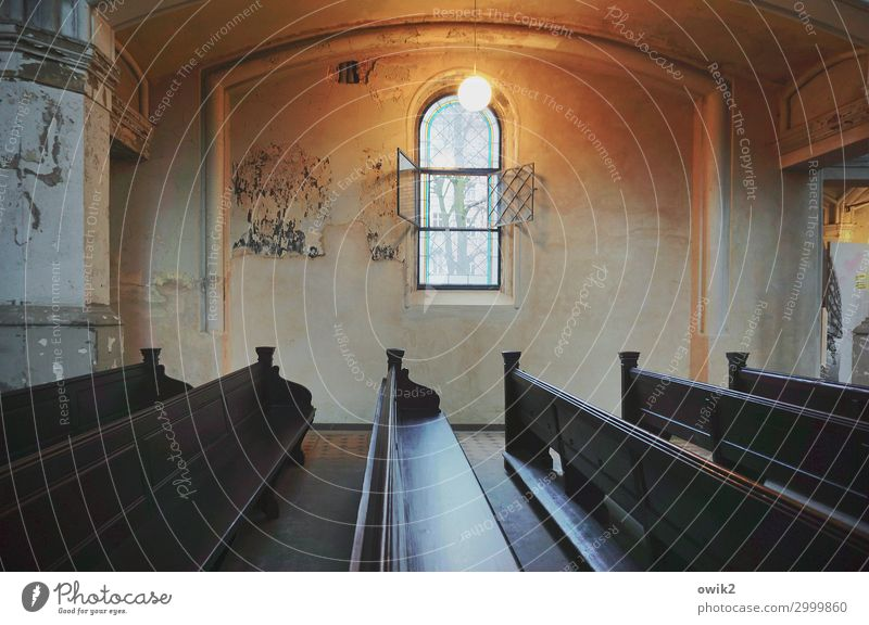 Old Church Interior design Church pew Church window Lamp Wall (building) Wood Glass Metal Illuminate Dark Humble Hope Religion and faith Bright Colours