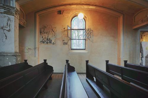 Old Church Interior design Church pew Church window Lamp Wall (building) Wood Glass Metal Illuminate Dark Humble Hope Religion and faith Bright Colours