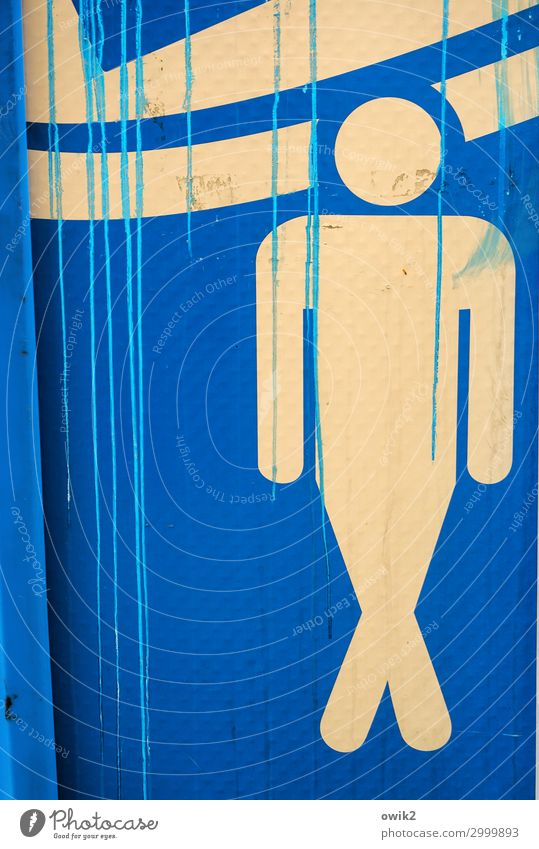 Urgent Man Adults 1 Human being Toilet Pictogram Plastic Sign Blue Yellow Smear Colour Needy Colour photo Exterior shot Detail Abstract Structures and shapes