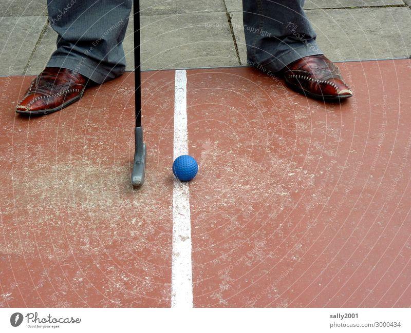 A marginalized sport...? Mini golf Masculine Man Adults Feet 1 Human being Pants Footwear Mini golfclub Golf ball Playing Exceptional Cool (slang) Athletic Blue
