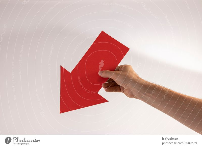 downwards Man Adults Hand Fingers Paper Decoration Sign Signage Warning sign Arrow Select Observe Movement To fall To hold on Red Target Future Downward Under