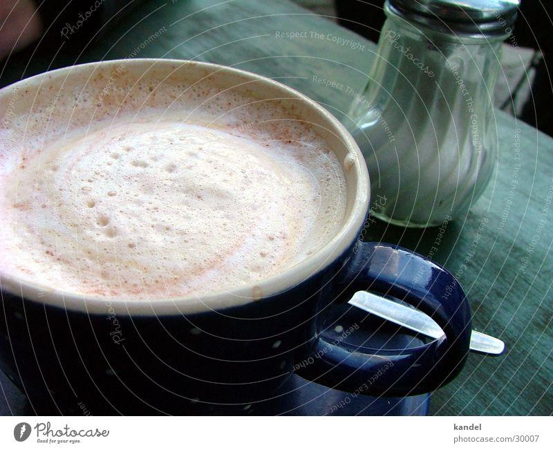 coffee break Café au lait Foam Cup Rustic Close-up Detail Sugar caster Exterior shot
