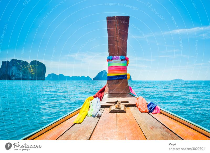 View from head of traditional boat to sea and islands Sky Vacation & Travel Nature Summer Blue Beautiful Green Water White Landscape Red Ocean Relaxation Clouds