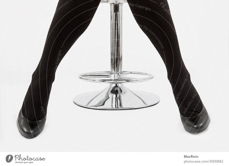 Woman on a bar stool Adults Stockings Tights Footwear Sit Black Posture Stool Workshop Office chair Body language Studio shot Close-up