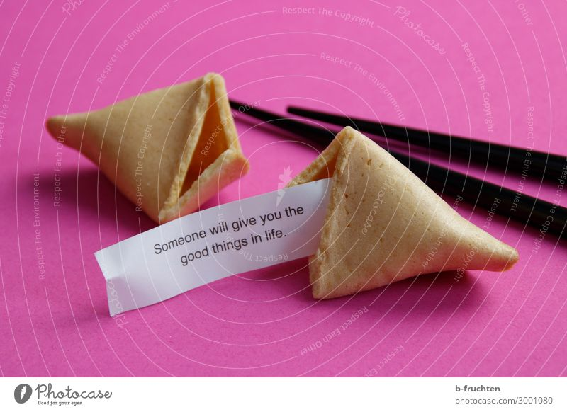 You fortune cookie, you! Food Candy Paper Sign Eating Friendliness Happiness Happy Pink Life Joie de vivre (Vitality) Ease Optimism Future Figure of speech