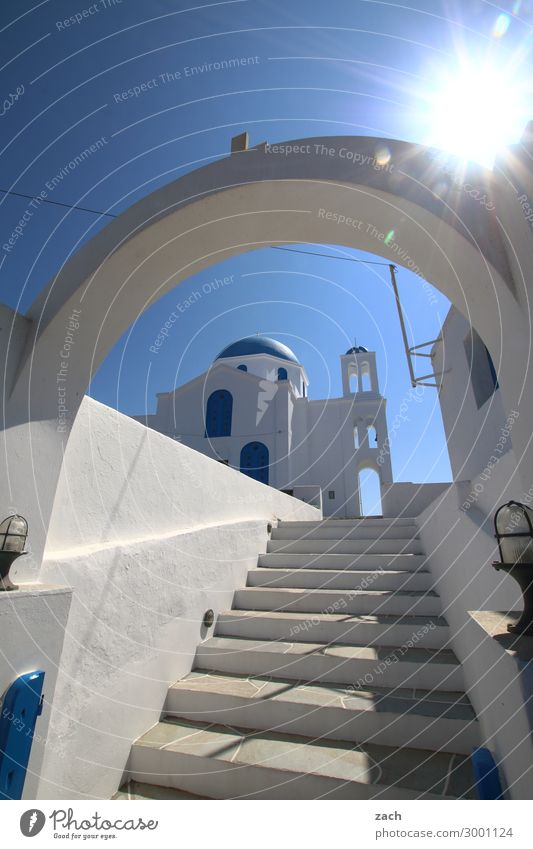 Nested Sky Cloudless sky Sunlight Island Folegandros Cyclades Greece Village Fishing village Old town Deserted House (Residential Structure) Church Dome Gate