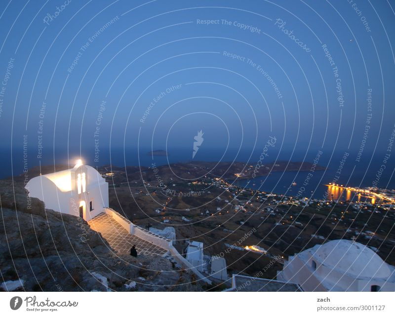 with vision Far-off places Sky Night sky Sunrise Sunset Hill Coast Ocean Mediterranean sea Aegean Sea Island Cyclades Serifos Greece Village Fishing village