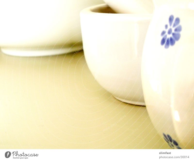 Three porcelain friends White Kitchen Shelves Still Life Cup Living or residing Crockery Detail Mortar Bowl