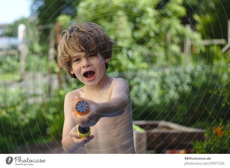 Water march - boy with water pistol Playing Vacation & Travel Summer Summer vacation Living or residing Flat (apartment) Human being Child Boy (child) Infancy 1