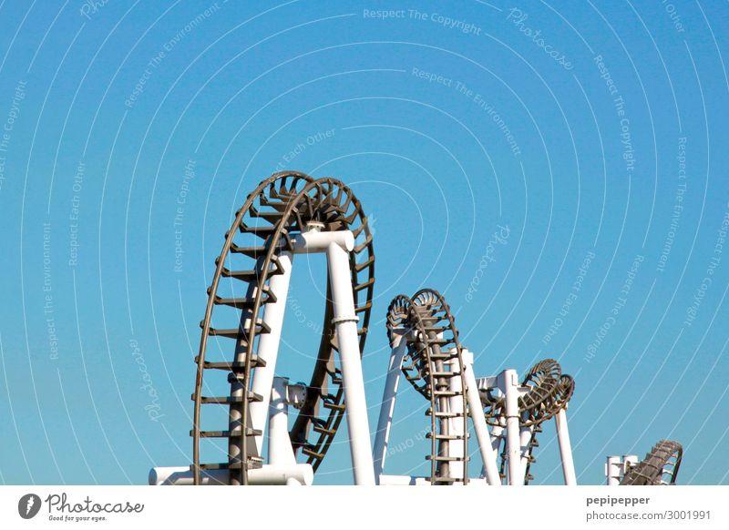 corkscrews Leisure and hobbies funfair Amusement Park Trip Adventure Freedom Summer Machinery Technology Sky Cloudless sky Rail transport Roller coaster Steel