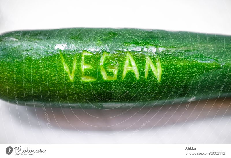 Vegan: Zucchini Food Vegetable Nutrition Organic produce Vegetarian diet Vegan diet Lifestyle Fresh Healthy Glittering Green Characters Colour photo Close-up