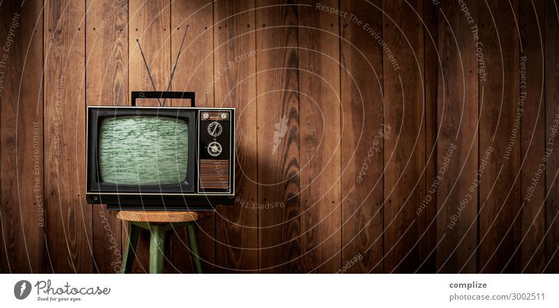 Vintage TV in front of a wooden wall | Panorama Style Design Leisure and hobbies Living or residing Flat (apartment) Interior design Room Living room