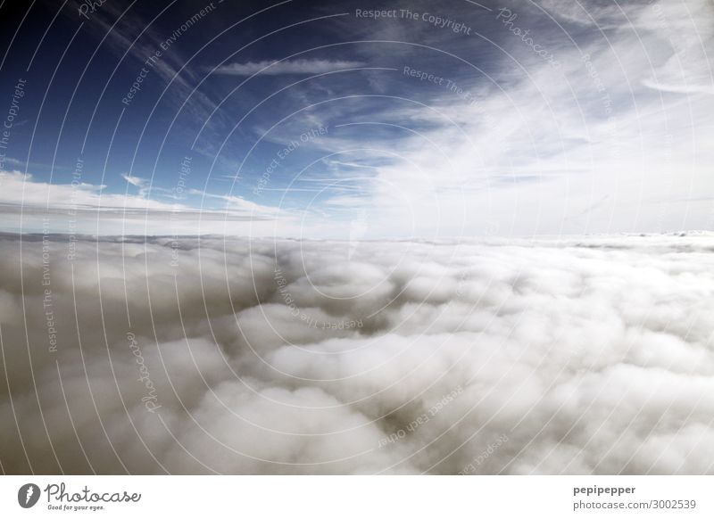 above the clouds Vacation & Travel Tourism Far-off places Freedom Pilot Sky only Clouds Storm clouds Aviation In the plane Flying Blue Colour photo